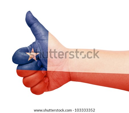 Chile flag on thumb up gesture like icon on white background - stock photo
