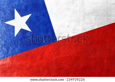 Chile Flag painted on leather texture - stock photo