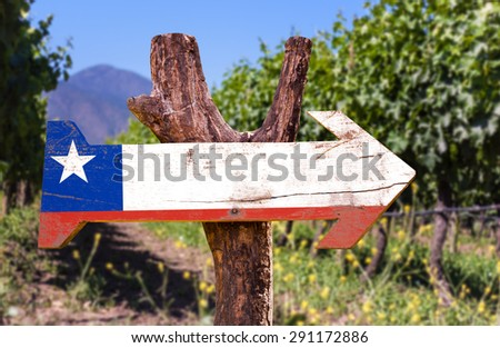 Chile Flag wooden sign with winery background - stock photo