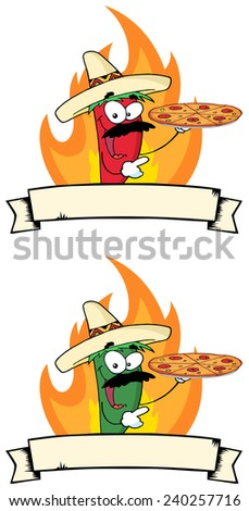 Chile Pepper Holds Up Pizza In Flame Cartoon Banner. Raster Collection Set - stock photo