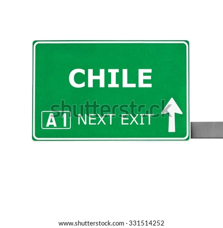 CHILE road sign isolated on white