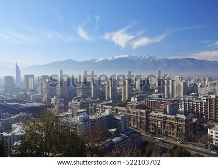 Chile, Santiago, Cityscape viewed from the Santa Lucia Hill.