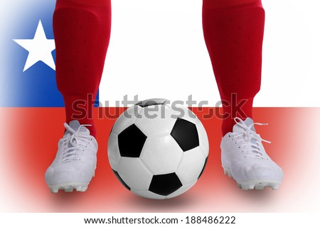 Chile soccer player with football for competition in Match game.