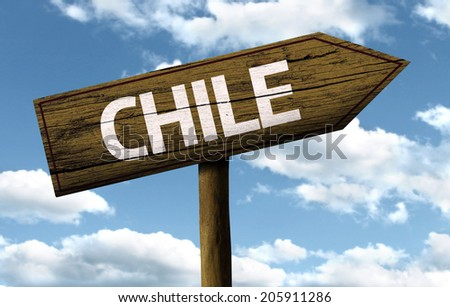 Chile wooden sign on a beautiful day - stock photo