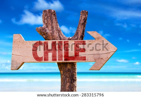 Chile wooden sign with beach background - stock photo