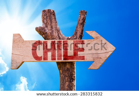Chile wooden sign with sky background - stock photo