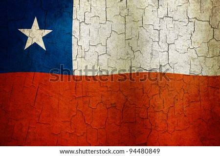 Chilean flag on a cracked grunge background - stock photo