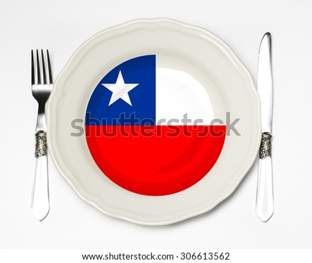 Chilean flag plate - stock photo