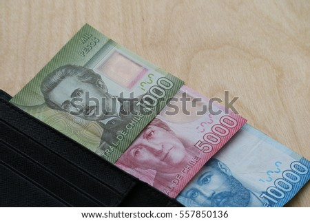Chilean Peso cash in wallet on wooden background, finance concept