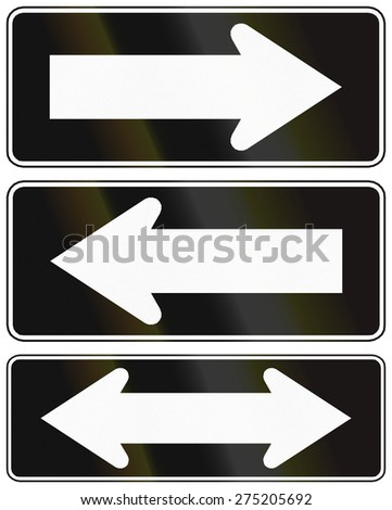 Chilean traffic signs indication one way and two way roads. - stock photo