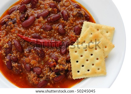 Red hot white bean chili Stock Photos, Illustrations, and Vector Art