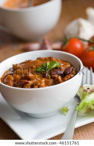 Chili con carne in a bowl - stock photo
