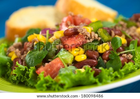Chili con carne salad made of mincemeat, kidney beans, watercress, green bell pepper, tomato, sweet corn and red onions served on lettuce (Selective Focus, Focus on the tomato piece in the middle) - stock photo