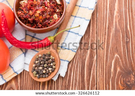 Chili papper on wooden - stock photo