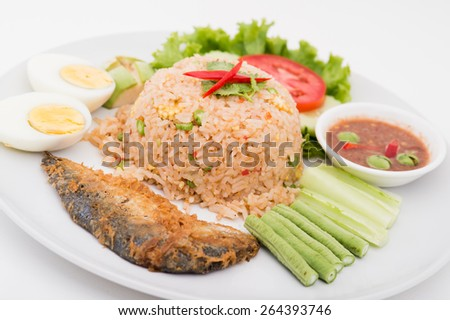 Chili paste with fried mackerel and vegetable Thai food,Thai food, Shrimp paste with fried mackerel and vegetable ,chili paste - stock photo