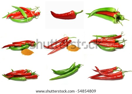 chili pepper collage - stock photo