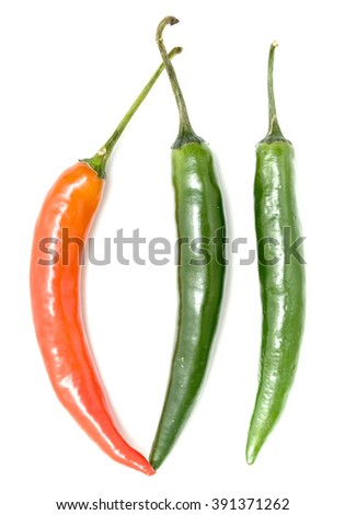 chili peppers isolated on white background - stock photo