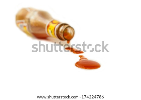Chili sauce in glass bottle isolated on white background - stock photo