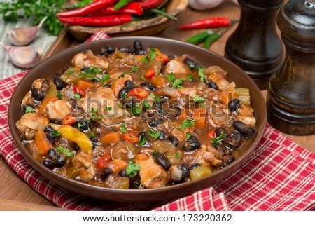 chili with black beans and chicken, close-up - stock photo