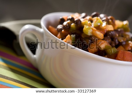 Chili with Black Beans, Tomatoes, Onions, Bell Peppers and Tomato Sauce