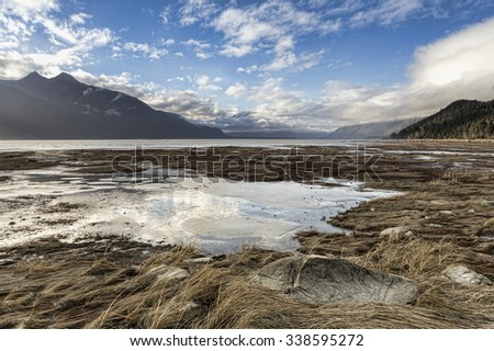 Chilkat river estuary near Haines Alaska with clouds reflected in still pools of water left by the outgoing tide. - stock photo
