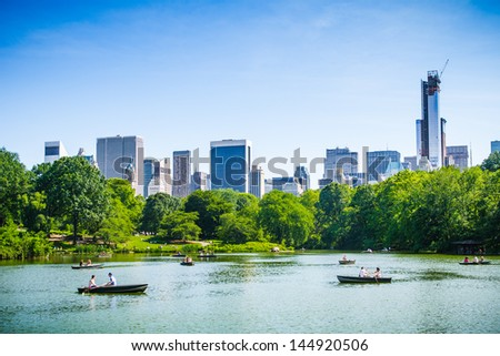 Chill in the Central Park - stock photo