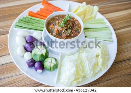 Chill sauce with fresh vegetables set