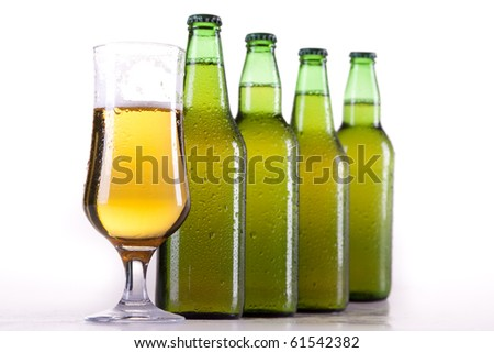 Chilled beer on white background!
