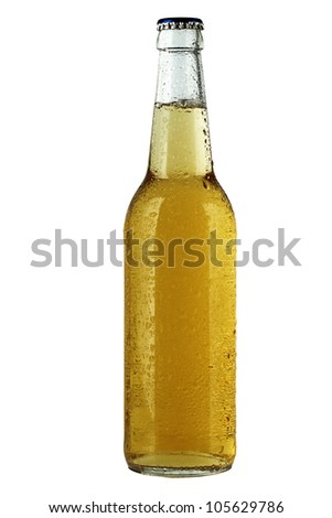 Chilled bottle of beer - stock photo