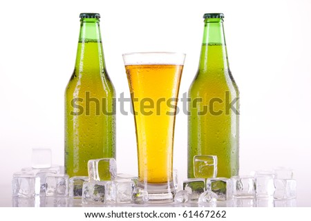 Chilled golden beer on light background!