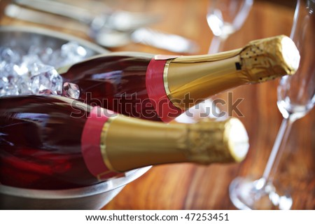 Chilled pink champagne ready for a celebration - stock photo