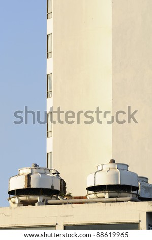 Chiller cool system   on building - stock photo