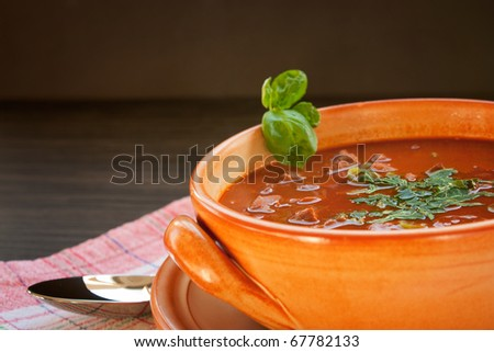 Chilli con carne with beef in a clay pot - stock photo