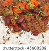 Chilli con carne with rice - stock photo