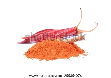 chilly powder and red chilly - stock photo