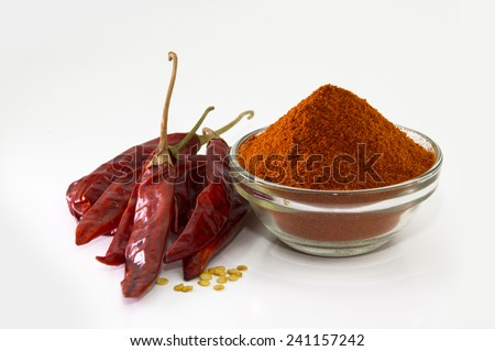chilly powder with red chilly, dried chilies - stock photo