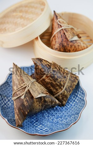 Chimaki/Rice dumpling wrapped in bamboo leaves - stock photo