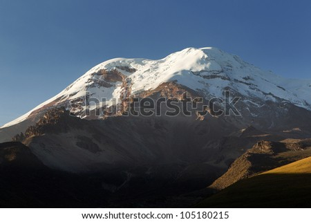 CHIMBORAZO VOLCANO, ECUADOR WHILE IS NOT THE HIGHEST MOUNTAIN BY ELEVATION ABOVE SEA LEVEL, ITS LOCATION ALONG THE EQUATORIAL BULGE MAKES ITS SUMMIT THE FARTHEST POINT ON THE EARTH