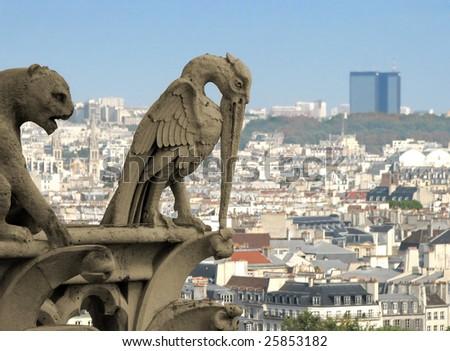 Chimera (gargoyle) on Notre Dame de Paris - stock photo