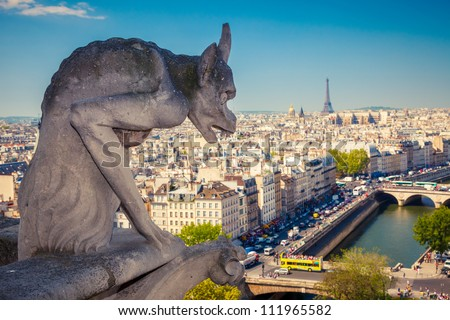 Chimera on Notre Dame Cathedral, Paris, France - stock photo