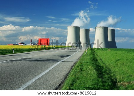 chimney on road horizon power station - stock photo