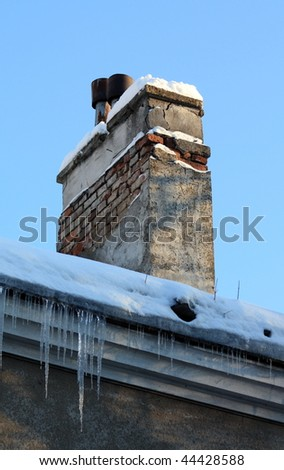 chimney on winter scenery