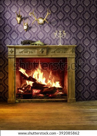 Chimney with woodpile. Fireplace room. - stock photo