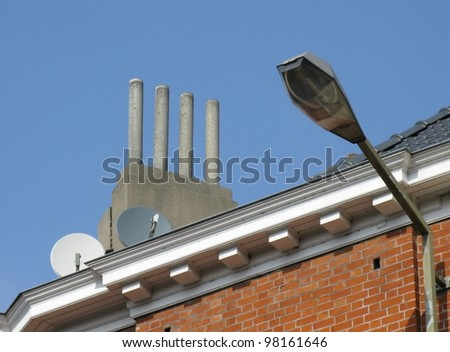 Chimneys on a house in a liberty style in Brussels in Belgium
