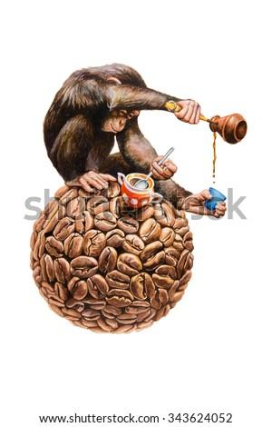 Chimpanzee pours coffee. Watercolor illustration. - stock photo