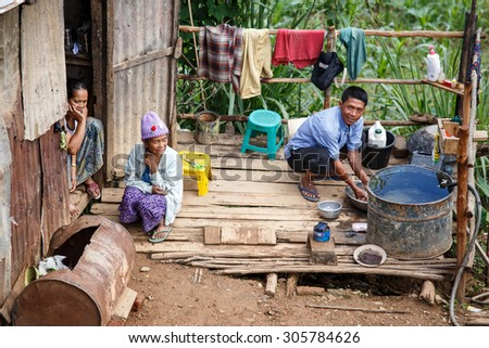 CHIN STATE, MYANMAR - JUNE 18, 2015: Shanty town hut in the recently opened for tourists Chin State Mountainous Region, Myanmar (Burma) - stock photo