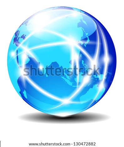 China and Asia, Global Communication Planet Data across the world - stock photo