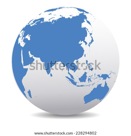 China and Asia, Global World - Raster Version - stock photo