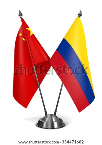 China and Colombia - Miniature Flags Isolated on White Background. - stock photo