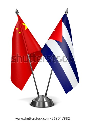 China and Cuba - Miniature Flags Isolated on White Background. - stock photo